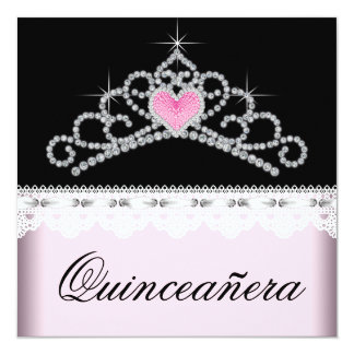 Diamond Tiara Pink Black Sweet 15 Quinceanera Personalized Announcements