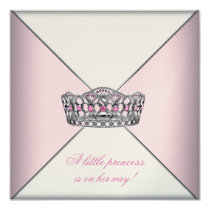 Diamond Tiara Pink Princess Baby Shower 5.25x5.25 Square Paper Invitation Card