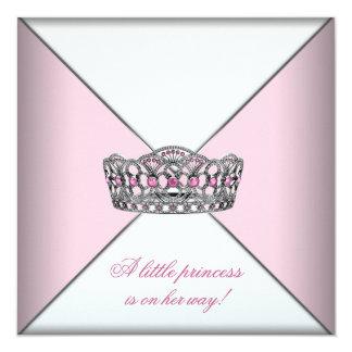 """Diamond Tiara Pink Princess Baby Shower 5.25"""" Square Invitation Card"""
