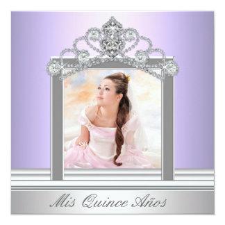 Diamond Tiara Purple Photo Quinceanera Card