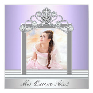 "Diamond Tiara Purple Photo Quinceanera 5.25"" Square Invitation Card"