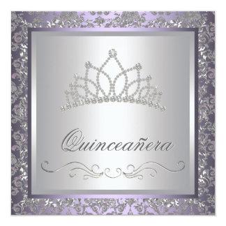 Diamond Tiara Purple Quinceanera Invitation