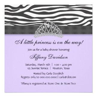 Diamond Tiara Purple Zebra Princess Baby Shower Invite