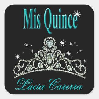 Diamond Tiara Quinceañera (black/aqua) Party Square Sticker
