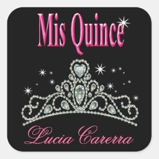Diamond Tiara Quinceañera (black/pink) Party Square Sticker
