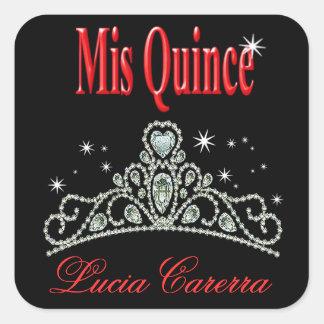 Diamond Tiara Quinceañera (black/red) Party Sticker