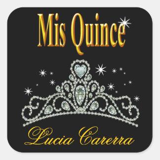 Diamond Tiara Quinceañera (black/yellow) Party Square Stickers