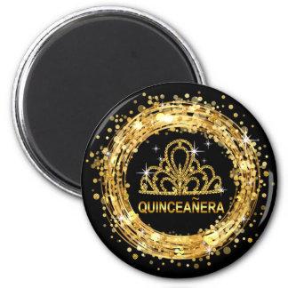 Diamond Tiara Quinceanera Glitter Confetti | gold 2 Inch Round Magnet