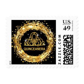 Diamond Tiara Quinceanera Glitter Confetti | gold Postage Stamp