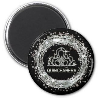 Diamond Tiara Quinceanera Glitter Confetti silver 2 Inch Round Magnet