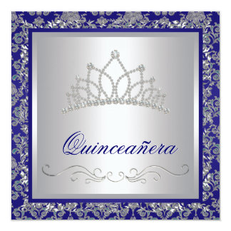 Diamond Tiara Royal Navy Blue Quinceanera Card