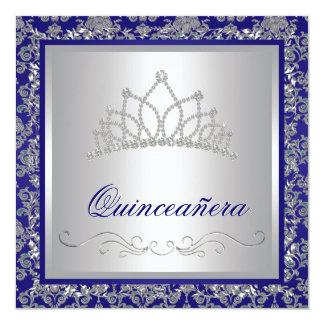 "Diamond Tiara Royal Navy Blue Quinceanera 5.25"" Square Invitation Card"