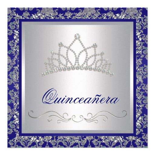 "Diamond Tiara Royal Navy Blue Quinceanera 5.25"" Square Invitation Card | Zazzle"