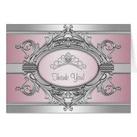Diamond Tiara Silver Pink Princess Thank You Card