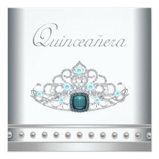 Diamond Tiara Teal Blue Quinceanera Custom Invite