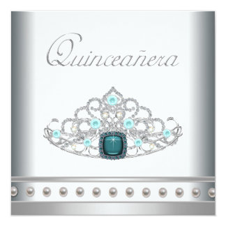 Diamond Tiara Teal Blue Quinceanera 5.25x5.25 Square Paper Invitation Card