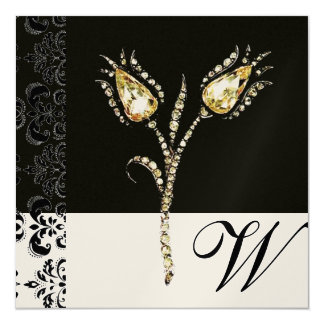 DIAMOND TULIPS , Black and Gold  Damask Monogram Card