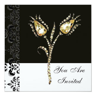 DIAMOND TULIPS , Black and White Damask Card