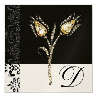 DIAMOND TULIPS , Black and White Damask Monogram Card