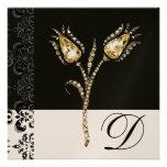 DIAMOND TULIPS , Black and White Damask Monogram Invites