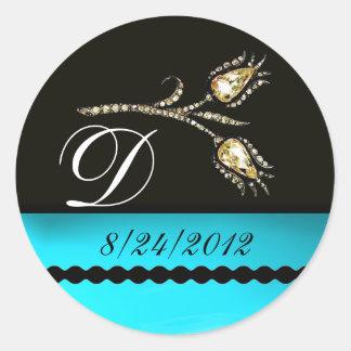 DIAMOND TULIPS BLACK WHITE AQUA BLUE TEAL MONOGRAM CLASSIC ROUND STICKER