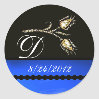 DIAMOND TULIPS BLACK WHITE BLUE MONOGRAM CLASSIC ROUND STICKER