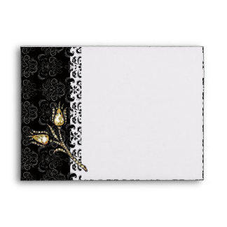 DIAMOND TULIPS ,Black White Damask Envelope
