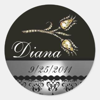 DIAMOND TULIPS BLACK WHITE GREY DAMASK,Save Date Classic Round Sticker