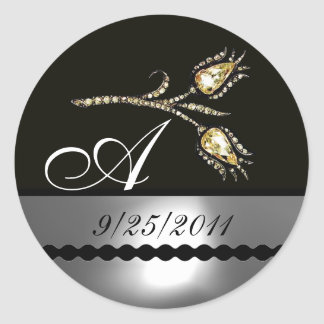 DIAMOND TULIPS BLACK WHITE GREY MONOGRAM CLASSIC ROUND STICKER
