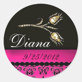 DIAMOND TULIPS BLACK WHITE PINK FUCHSIA DAMASK, CLASSIC ROUND STICKER