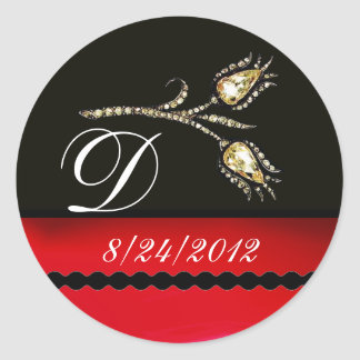 DIAMOND TULIPS BLACK WHITE RED MONOGRAM CLASSIC ROUND STICKER