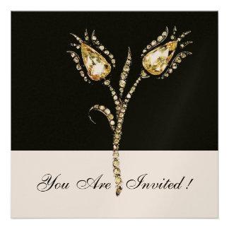 DIAMOND TULIPS Champagne Metallic Personalized Announcement