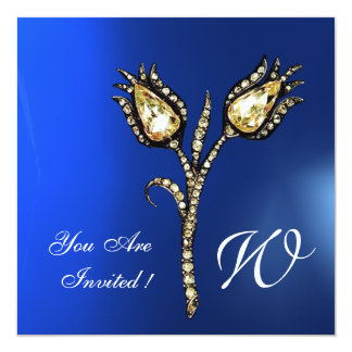 DIAMOND TULIPS MONOGRAM , Blue Sapphire Card