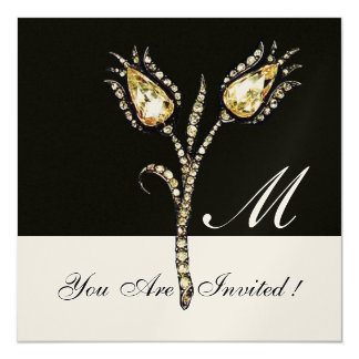 DIAMOND TULIPS MONOGRAM ,Gold Metallic Card