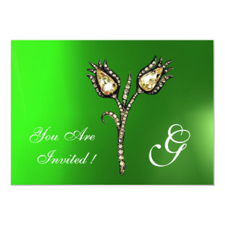 DIAMOND TULIPS MONOGRAM ,Green Emerald Card
