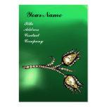 DIAMOND TULIPS MONOGRAM ,Green Jade Large Business Cards (Pack Of 100)