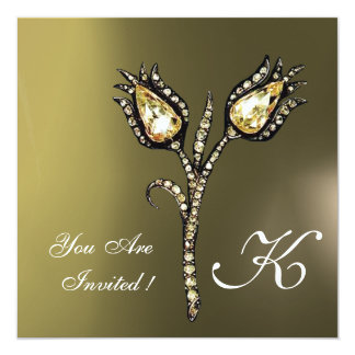 DIAMOND TULIPS MONOGRAM ,Grey Agate Card