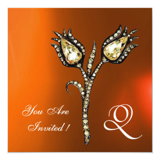 DIAMOND TULIPS MONOGRAM ,Orange Grey Agate Card