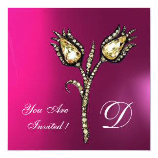 DIAMOND TULIPS MONOGRAM ,Pink Fuchsia Purple Card