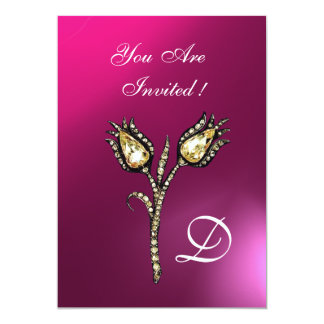 DIAMOND TULIPS MONOGRAM ,Pink Purple Amethyst Card
