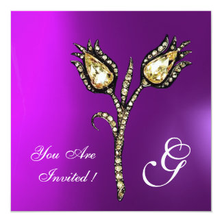 DIAMOND TULIPS MONOGRAM , Purple Violet Card