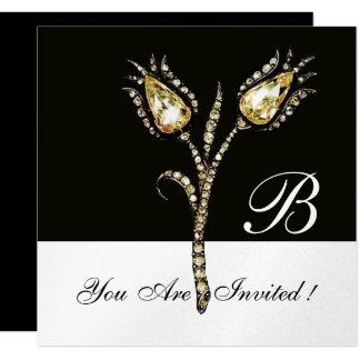 DIAMOND TULIPS MONOGRAM ,Silver Metallic Card