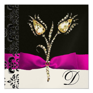 DIAMOND TULIPS ,Pink Black White Damask Monogram Card