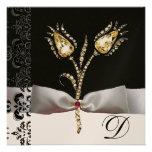 DIAMOND TULIPS ,Pink Black White Damask Monogram Invites