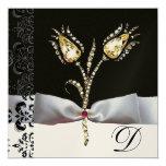 DIAMOND TULIPS ,Pink Black White Damask Monogram 5.25x5.25 Square Paper Invitation Card