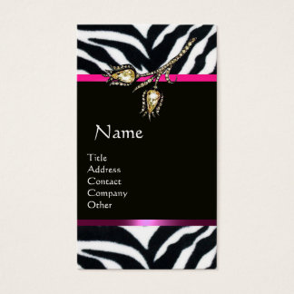 DIAMOND TULIPS PINK BLACK WHITE ZEBRA FUR MONOGRAM BUSINESS CARD