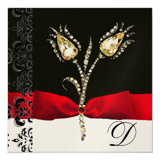 DIAMOND TULIPS , Red Black White Damask Monogram Card