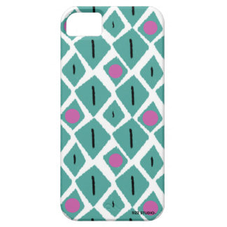 Diamond Turquoise with Pink Circles Pattern iPhone 5 Cases