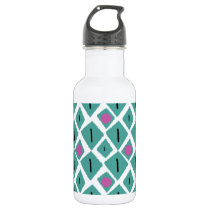Diamond Turquoise with Pink Circles Pattern Water Bottle