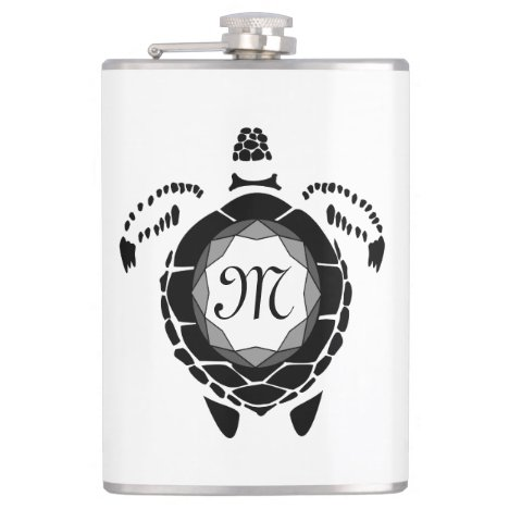 Diamond Turtle Shellback Monogram Flask